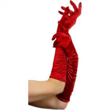 Lange glanzende handschoenen - Rood