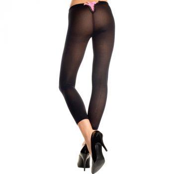 Basic Legging Met Roze Rijgveter - Zwart