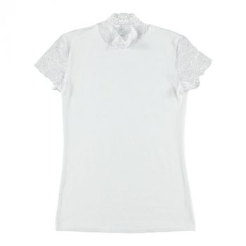 Shirt Met Kanten Mouwtjes - Wit
