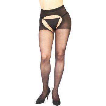 Visxon Open Kruis Panty - Zwart