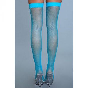 Hoge Nylon Visnetkousen - Turquoise