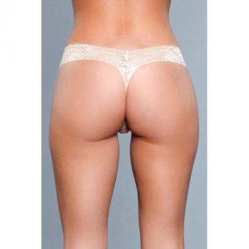 V-Cut Kanten String - Nude