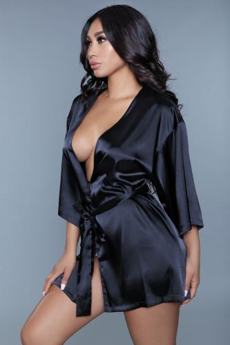 Amora Kimono Met Hart - Zwart