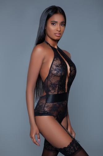 Ophelia Kanten Jarretel Body - Zwart