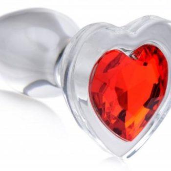 Red Heart Anaalplug Van Glas Met Steentje - Large