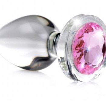 Pink Gem Anaalplug Van Glas Met Steentje - Small