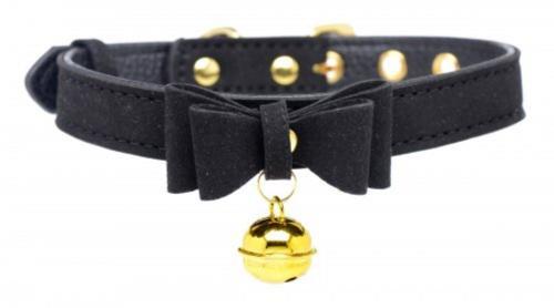 Golden Kitty Collar Met Kattenbelletje - Zwart/Goud