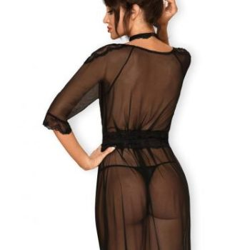 Lucita Transparante Kimono Met Choker - Zwart
