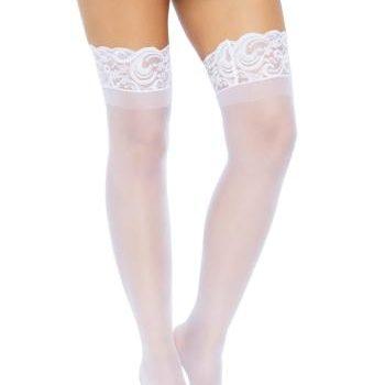 Klassieke kousen met kanten rand - Wit