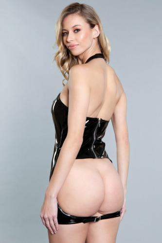 Kerrie Bumless Wetlook Jurkje - Zwart
