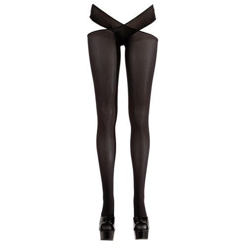 Panty met open kruis - Zwart