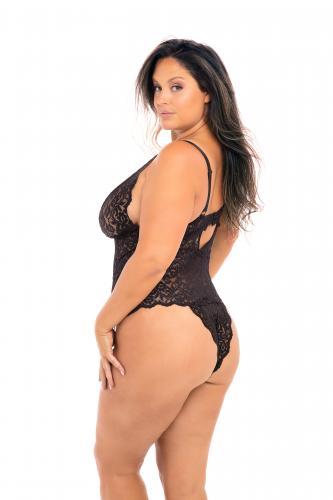 Zwarte Kanten Body Met Decolleté - Curvy