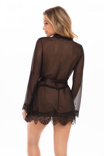 Transparante Kimono Met String - Zwart