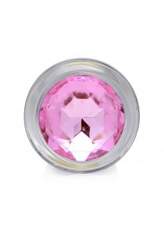 Pink Gem Anaalplug Van Glas Met Steentje - Large