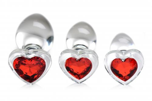 Red Heart Gem Anaalplug Set Van Glas