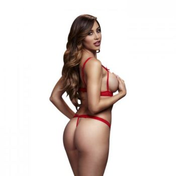Baci - Strappy Body Met Open Cups - Rood