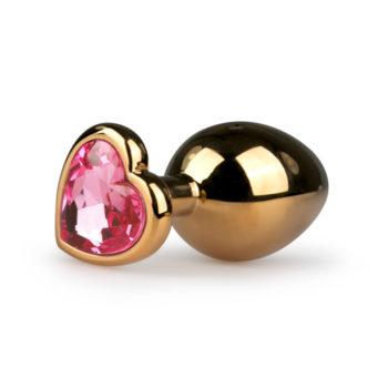 Metalen buttplug met hartje - goudkleurig