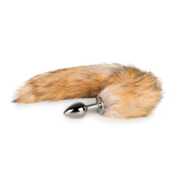 Kleine zilverkleurige buttplug met vossenstaart