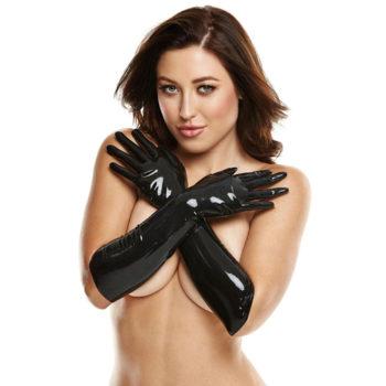 Lange Latex Handschoenen - Zwart