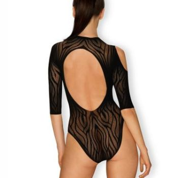 Transparante Cold Shoulder Body - Zebraprint