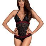Rossita Kanten Body - Zwart/Rood