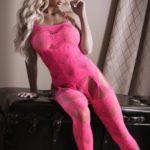To The Moon Jarretel Catsuit - Neon Pink