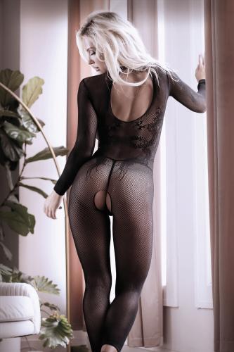 Unleash Me Catsuit Met Open Kruisje - Zwart